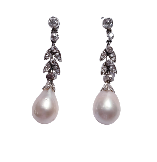 Natural Pearl and Diamond Drop Earrings  DBGEMS - image 1