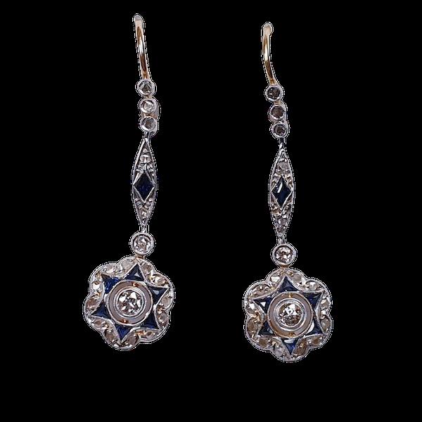 Edwardian Sapphire and Diamond Drop Earrings  DBGEMS - image 1