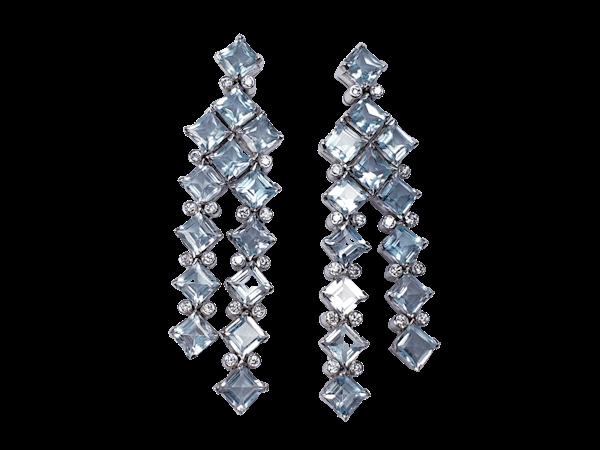 Blue Topaz and Diamond Drop Earrings  DBGEMS - image 1