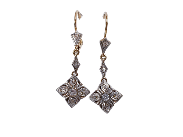 Pair of Edwardian Diamond Earrings  DBGEMS - image 1
