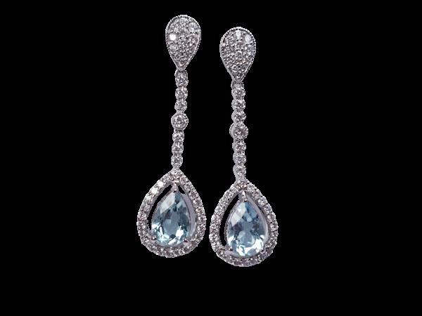 Aquamarine and diamond drop earrings  DBGEMS - image 1