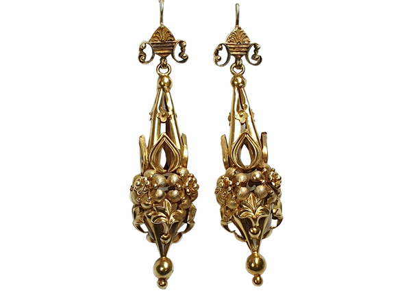 Pair of fabulous antique 18ct gold drop earrings  DBGEMS - image 1