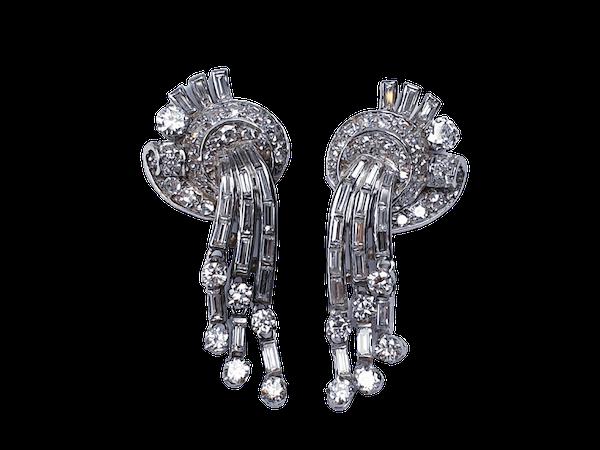 Diamond and Baguette Diamond Drop Earrings  DBGEMS - image 1