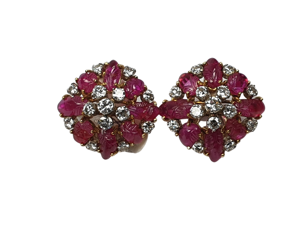 1930's Carved ruby and diamond earrings  DBGEMS - image 1