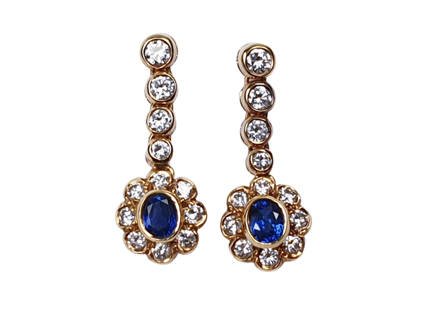 Sapphire and Diamond Cluster Drop Earrings  DBGEMS - image 1