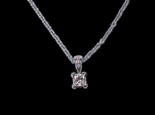 Princess Diamond Pendant and Chain 2813  DBGEMS - image 1