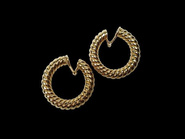 Super Cool 1960's large twisted hoop earrings  DBGEMS - image 1