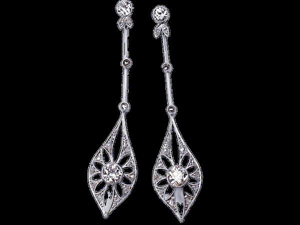 Stunning antique diamond drop earrings  DBGEMS - image 1