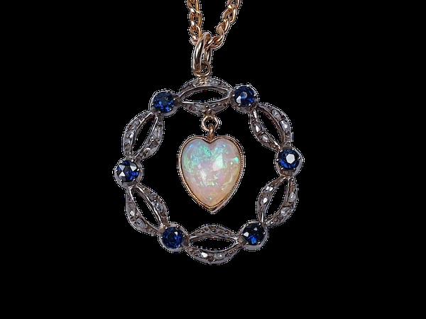 Victorian Opal Heart, Sapphire and Diamond Pendant  DBGEMS - image 1