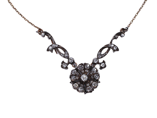 Victorian Diamond Flower Necklace  DBGEMS - image 1