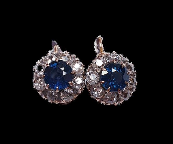 wedding antique sapphire and diamond earrings  DBGEMS - image 1