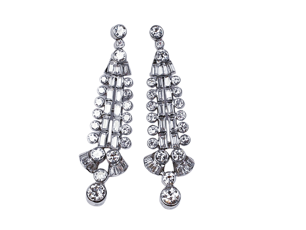 Diamond and Baguette Diamond Drop Earrings  DBGEMS - image 1