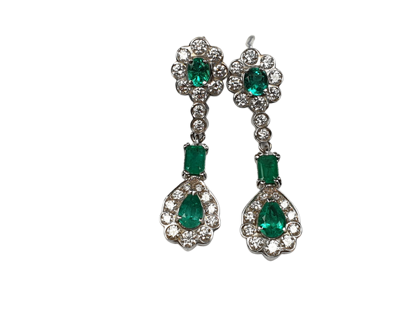 Long emerald and diamond drop earrings  DBGEMS - image 1
