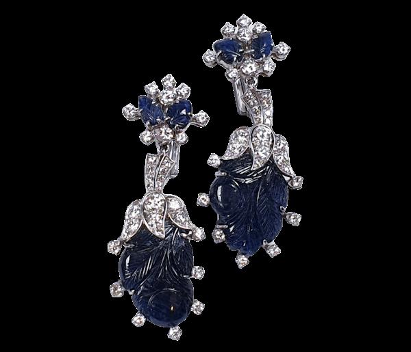 Vintage sapphire and diamond drop earrings  DBGEMS - image 1