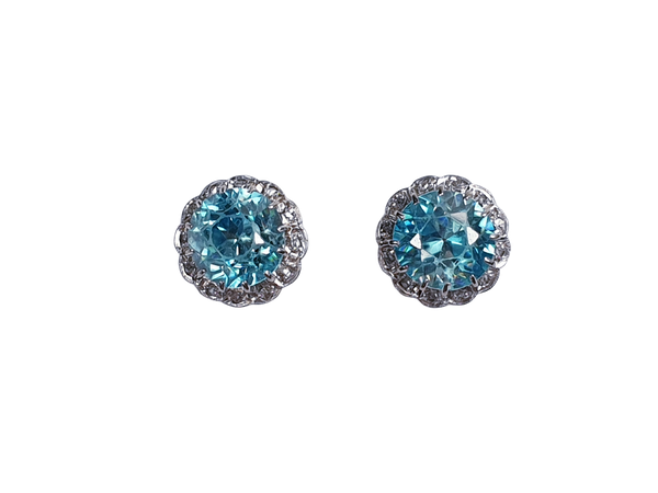 Blue Zircon and Diamond Earstuds  DBGEMS - image 1
