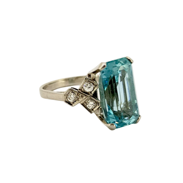 1950's Aquamarine and Diamond ring - image 1