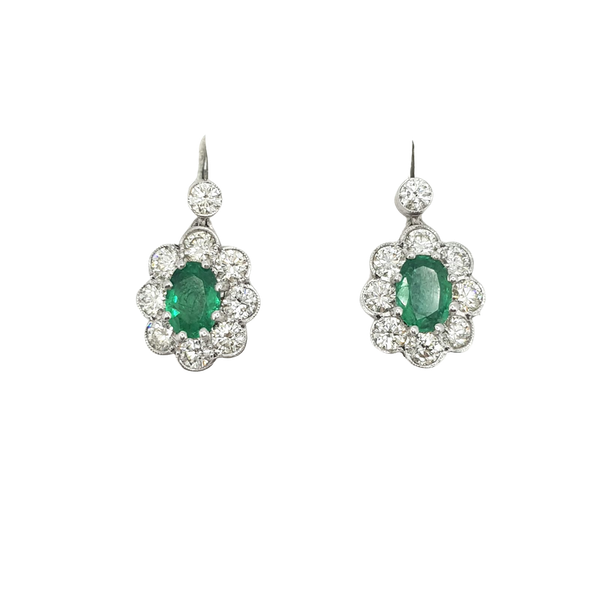 Emerald and Diamond drop earrings - image 1