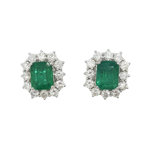 Emerald and Diamond Cluster Earrings - image 1