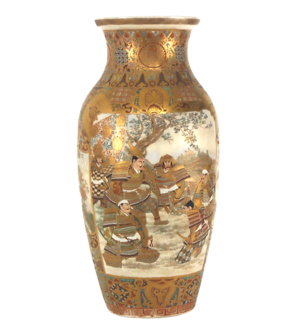 Japanese Satsuma vases with Samurai decoration - image 7