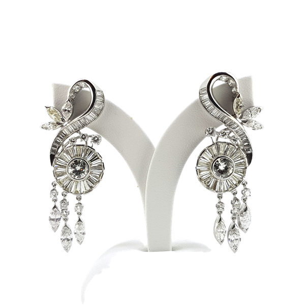 1950's Scroll Diamond Earrings - image 1