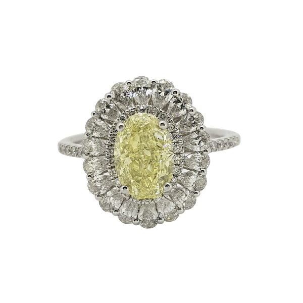 Oval Fancy Yellow Diamond cluster ring with GIA cert - image 1