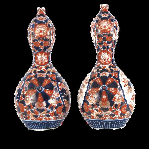 Pair Imari gourd shape vases - image 1