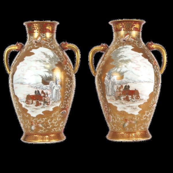 Pair Japanese Kutani vases - image 1