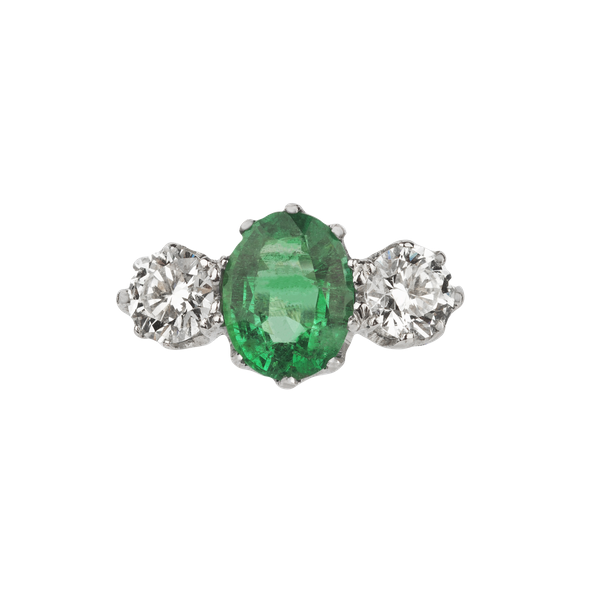 Emerald and diamond platinum trilogy engagement ring - image 1