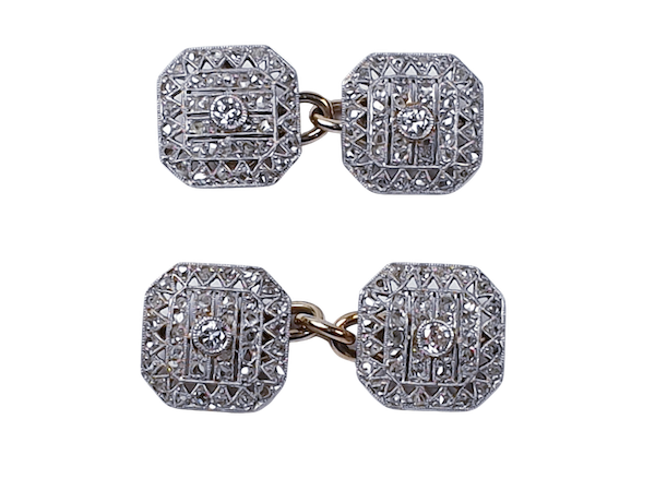 Art Deco diamond cufflinks and studs  DBGEMS - image 1