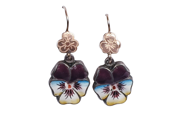 Enamel pansy drop earrings  DBGEMS - image 1