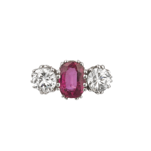 Ruby and diamond trilogy ring. Spectrum - image 1