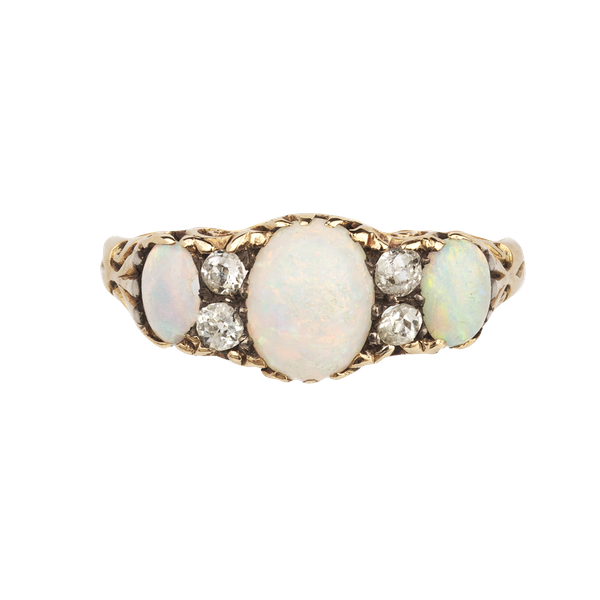 Opal and diamond 18ct Victorian ring Spectrum Antiques - image 1
