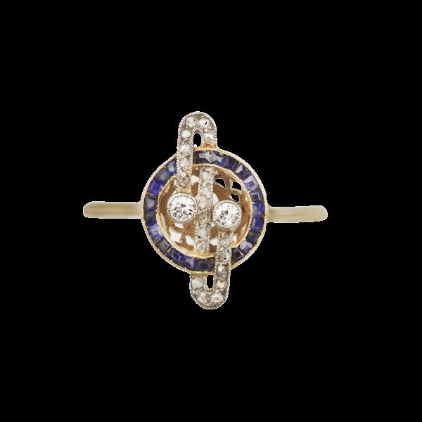 Art deco 18ct yellow gold sapphire diamond ring Spectrum Antiques - image 1