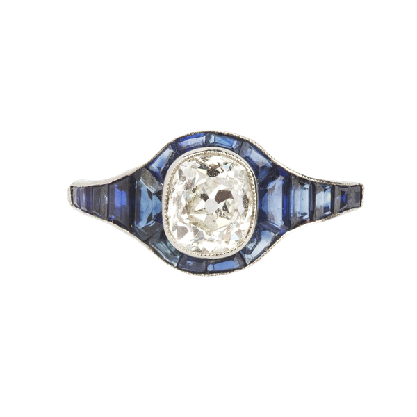 Engagement ring. Sapphire and diamond Art Deco tapered ring. Spectrum - image 1