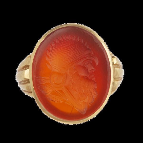 Carved carnelian large signet ring Spectrum Antiques - image 1