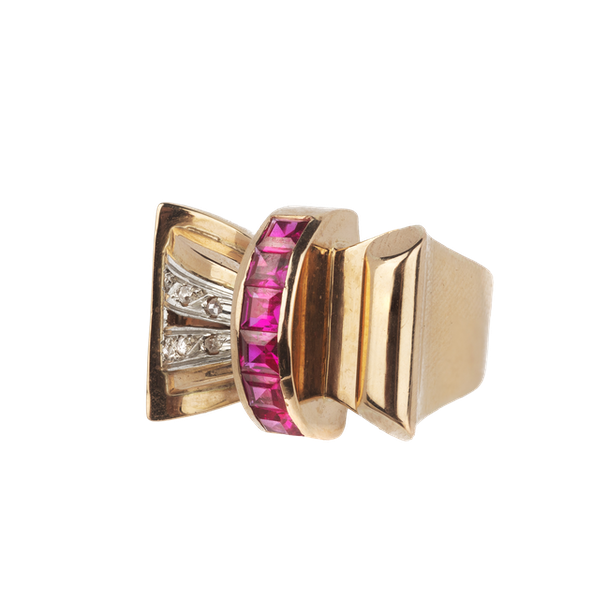 Cocktail 1930's ruby and diamond ring. Spectrum - image 1