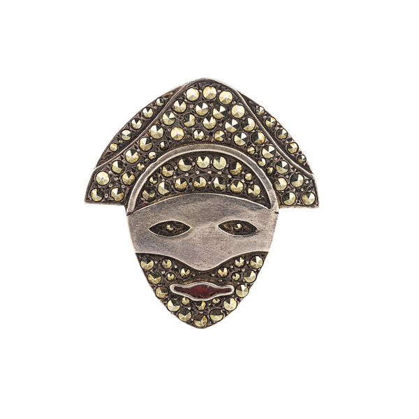 Silver marcasite masked face brooch Spectrum Antiques - image 1