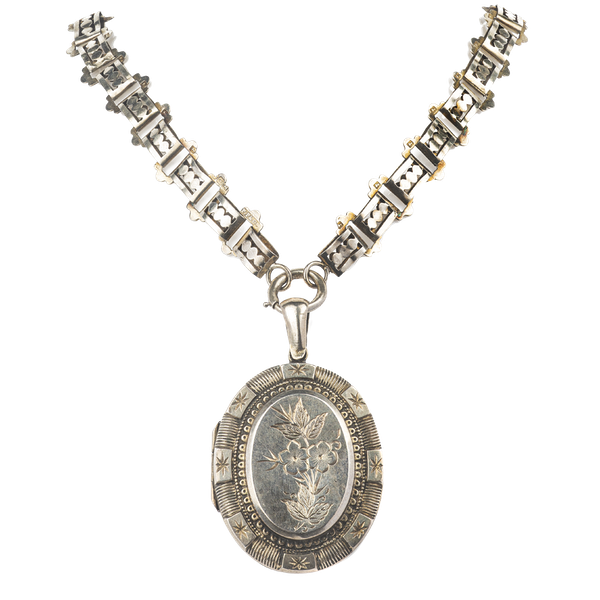 Victorian silver collar necklace and locket - image 1