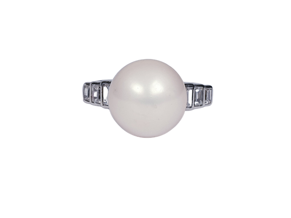 Natural River Pearl and Baguette Diamond Ring  DBGEMS - image 1