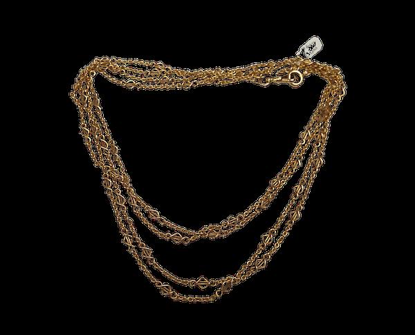 Art Nouveau 18ct Gold Long Chain sku 4004  DBGEMS - image 1