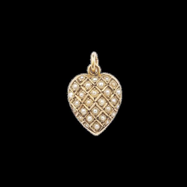 Natural pearl 15ct Victorian heart locket pendant Spectrum antiques - image 1