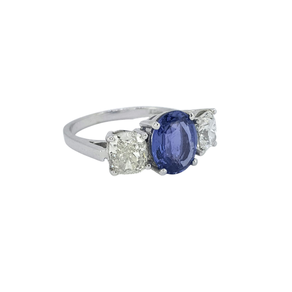 Natural Sapphire and Diamond 3 stone ring - image 1