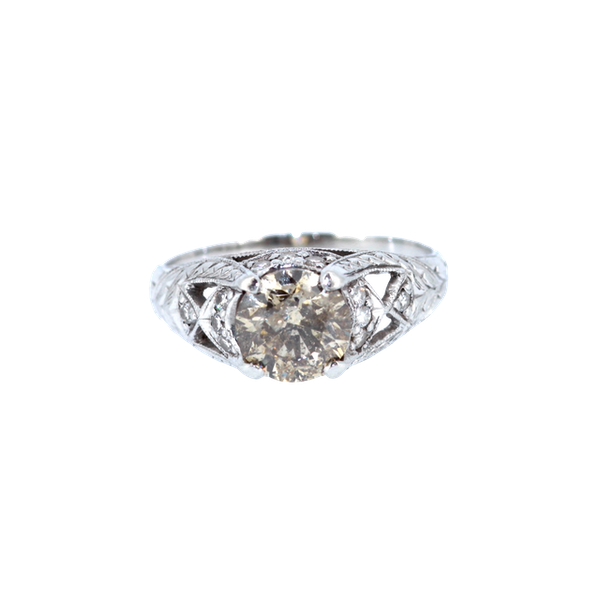 Old Cut Cognac Diamond Solitaire Ring. S.Greenstein - image 1