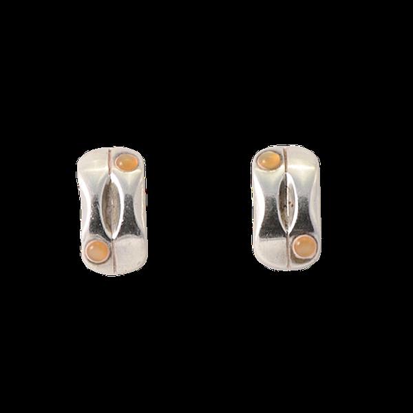 Date: 2005-2007, Georg Jensen Silver & Orange Moonstone Earrings, SHAPIRO & Co since1979 - image 1
