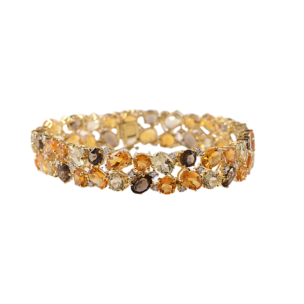 1970's 18ct Yellow Gold Citrine, Smokey Quartz & Diamond stone set Bracelet, SHAPIRO & Co since1979 - image 6