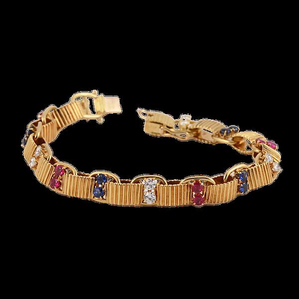 1950's, BOUCHERON 18ct Yellow Gold Diamond, Ruby and Sapphire stone set Bracelet, Shapiro&Co since1979 - image 13
