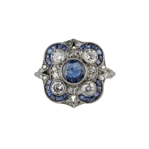 Art Deco Sapphire and Diamond Ring - image 1