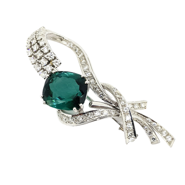 1950's Lapel Brooch with Green Tourmaline - image 1