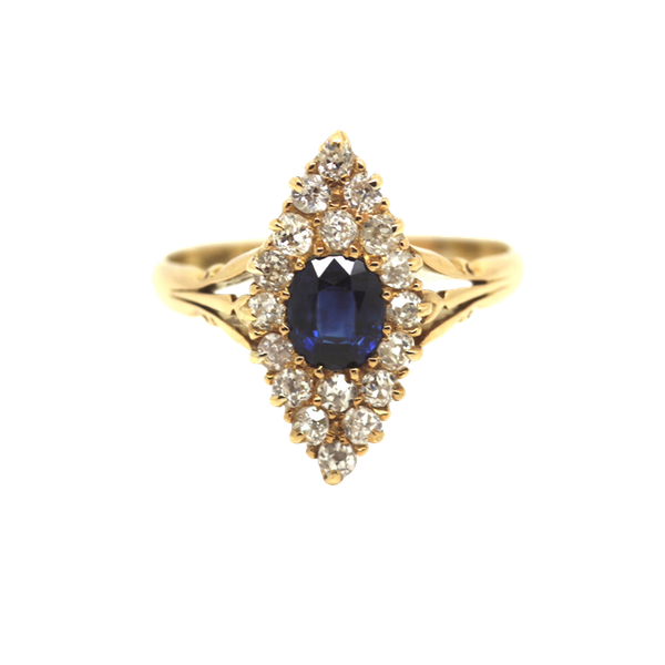 Sapphire And Diamond Marquis Ring. S.Greenstein - image 1