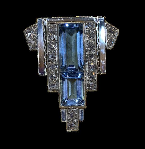 Aquamarine and diamond single dress clip - image 1